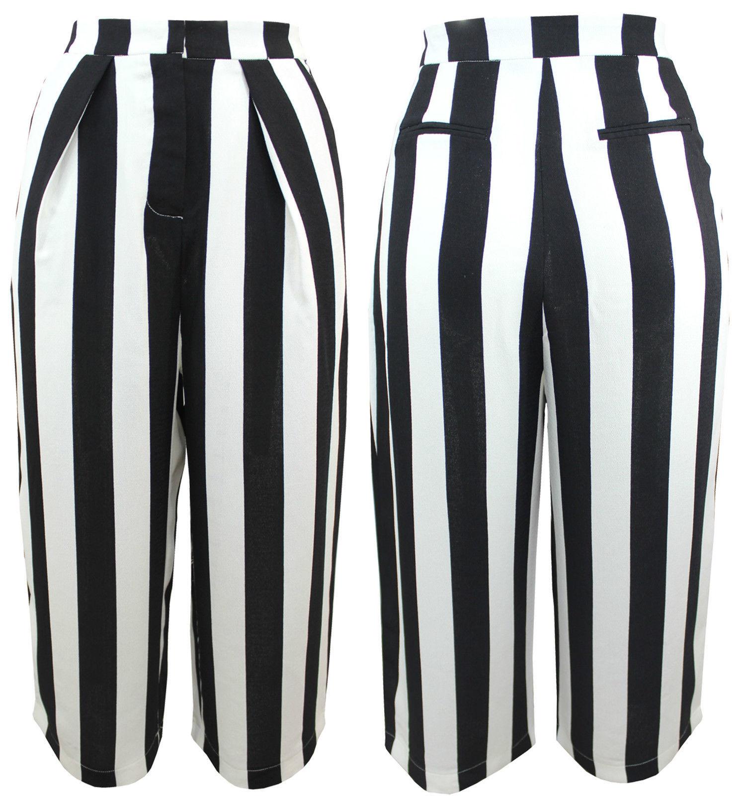 femme chic rayure culottes 3 4 pantalon pour jambe large taille haute 8 14 pants. Black Bedroom Furniture Sets. Home Design Ideas