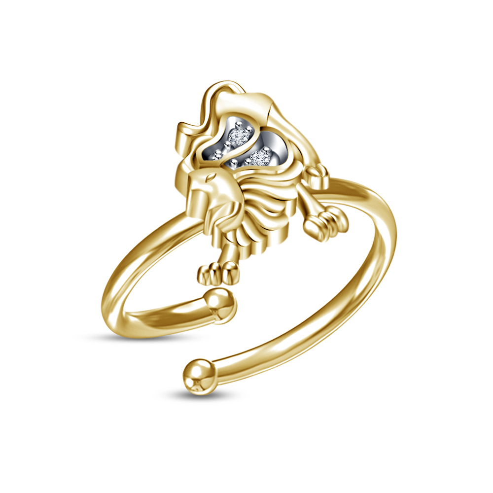 Primary image for Pure Yellow Gold Fn Round Sim.Diamond Charming Leo Zodiac Sign Adjustable Ring