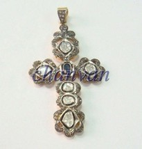 New Vintage Repro. Polky Rose Cut Diamond Sterling Silver Cross Sapphire... - $392.91