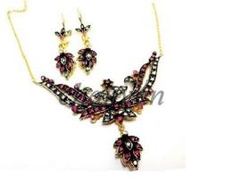 Vintage/Antique Style 1.00 Ct Rose Cut Diamond 92.5% Silver Necklace/Earring Set - $395.06
