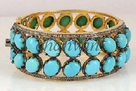 Vintage Style 2.40 Ct Rose Cut Diamond Sterling Silver Turquoise Bracele... - $714.98