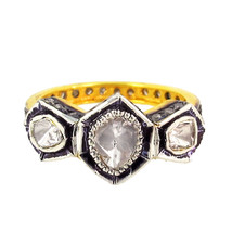 Vintage/Antique Handmade Rose Cut/Polky Diamond Sterling Silver Unique Band Ring - $248.49