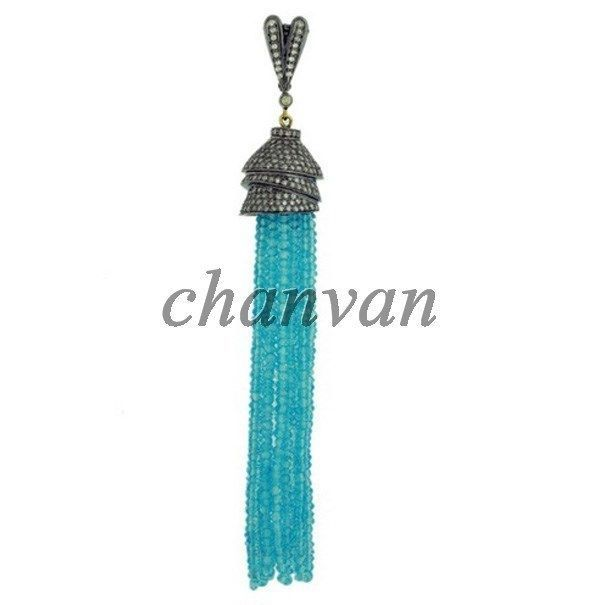 Primary image for Vintage/Antique Look Artisan Rose Cut Diamond 92.5% Silver Topaz Tassel Pendant