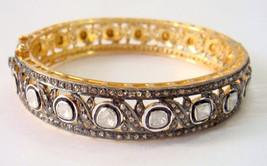 Vintage/Antique Look 4.77 Ctw Rose Cut/Polky Diamond .925 Silver bangle/... - $1,014.42