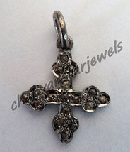 Vintage Look Cross!! 0.34 Ctw Rose Cut Diamond 925 Sterling Silver Pave Pendant - $80.32