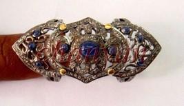 Vintage/Victorian Artisan Rose Cut Diamond 925 Silver Sapphire Gift Knuc... - $391.46