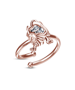 Round Sim.Diamond Rose Gold Plated 925 Silver Leo Zodiac Sign Adjustable... - £8.13 GBP