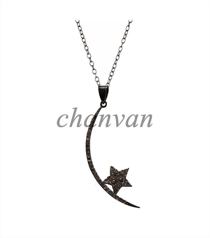 Primary image for Star & Moon !!Antique Handmade Rose Cut Diamond 925 Sterling Silver Pave Pendant