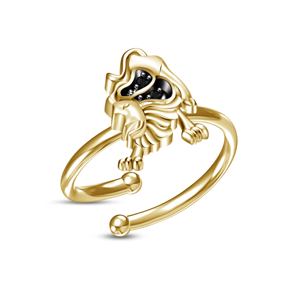 Primary image for Hot Sale Leo Zodiac Sign Adjustable Ring in Black Sim.Diamond Pure Gold Plated