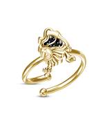 Hot Sale Leo Zodiac Sign Adjustable Ring in Black Sim.Diamond Pure Gold ... - £8.13 GBP