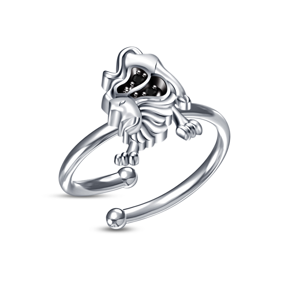 Primary image for New White Gold Fn 925 Silver Sim Diamond Leo Zodiac Astrology Sign Men's Ring