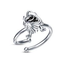 New White Gold Fn 925 Silver Sim Diamond Leo Zodiac Astrology Sign Men's Ring - £7.64 GBP