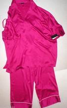 NWT New Designer Natori S Silky Pink Caftan Tunic Pajamas PJ's Womens Satin - $123.50
