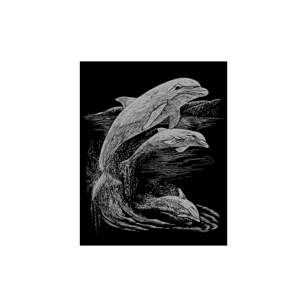 Silver Foil Engraving Art Kit 8X10 Dolphins