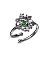 Star Favorite Green Sapphire Black Gold Plated Libra Zodiac Adjustable Ring - £16.71 GBP