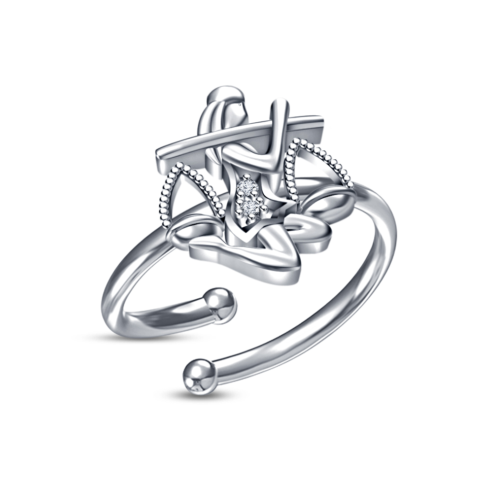 Primary image for Celebrity Special White CZ White Rhodium Finished Libra Zodiac Adjustable Ring