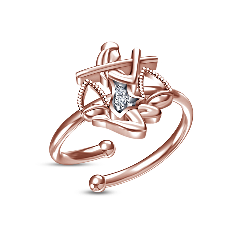 Primary image for New Design White Round CZ Rose Gold Plated Libra Zodiac Sign Adjustable Ring