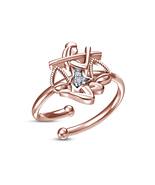 New Design White Round CZ Rose Gold Plated Libra Zodiac Sign Adjustable ... - £8.13 GBP