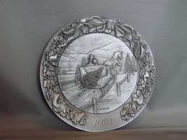 """""""A Country Sleighride"""",1980, 5 3/4"""" Pewter Plate Schmid, Ltd Ed  /6000  - $22.00"""