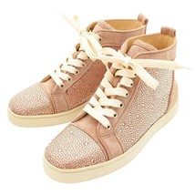Christian Louboutin Swarovski Suede Leather High-top Sneakers Pink Beige... - $943.28