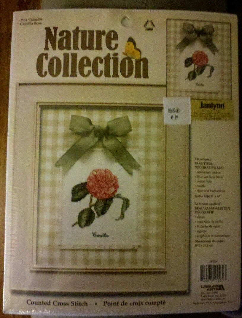 Janlynn Counted Cross Stitch Pink Camellia Kit NIP Nature Collection