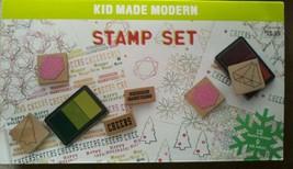 Kid Made Modern Christmas Holiday Theme Stamp Set NIP 12 stamps 3 tri-co... - $11.88