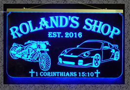 Personalized Motorcycle, Race Car LED Sign, Man Cave, Garage Sign, Gift for Dad image 4