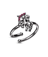 Ladies RD Pink Sapphire Black Gold Finished Sagittarius Zodiac Adjustabl... - £15.96 GBP