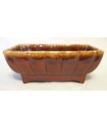 Brown Drip Glazed Rectangular Vase 405 - U.S.A. - $40.09