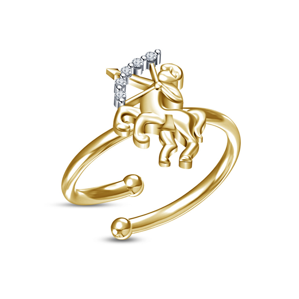 Primary image for 14k Gold Plated Round White Simulated Diamond Sagittarius Zodiac Adjustable Ring