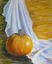 "Akimova: STILL LIFE WITH PUMPKIN, approx. size 14""x11"" - $15.00"