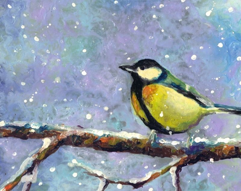 "Primary image for Akimova: GREAT TITMOUSE, sky,wax painting,approx.11.5""x8"""