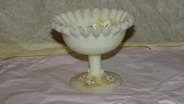 Fenton Vintage Custard Glass Ruffled Daisy Pedestal Compote Signed C Bar... - $8.90