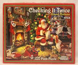 White Mountain puzzle Checking it Twice 1000 piece Christmas Santa Claus... - $10.00