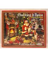 White Mountain puzzle Checking it Twice 1000 piece Christmas Santa Claus 2008 - $10.00