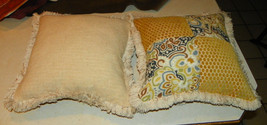 Pair of Gold Flower Print Patchwork Print Throw Pillows - $59.95