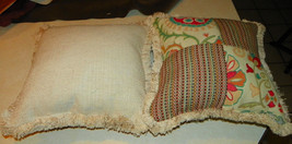 Pair of Green Red Beige Patchwork Print Throw Pillows - $59.95