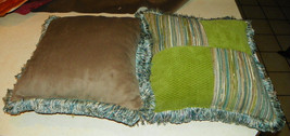 Pair of Green Seafoam Blue Patchwork Print Throw Pillows - $59.95