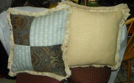 Pair of Blue Beige Patchwork Print Throw Pillows / Decorative Pillows - $59.95
