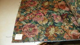 Green Burgundy Tapestry Print Upholstery Fabric  1 Yard  R20 - $49.95
