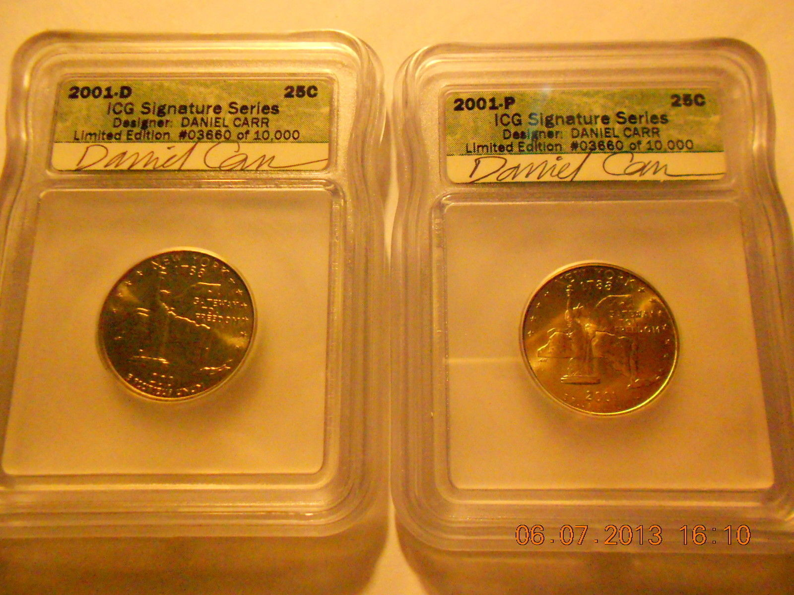 2001D & 2001P  New York State Quarters  Signature Series Set   Daniel Carr   ICG - $52.99