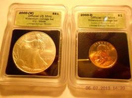 2000-(W) Silver Eagle(MS68)  & 2000-D Sacagawea Dollar Set  ICG #05490 intercept - $139.99