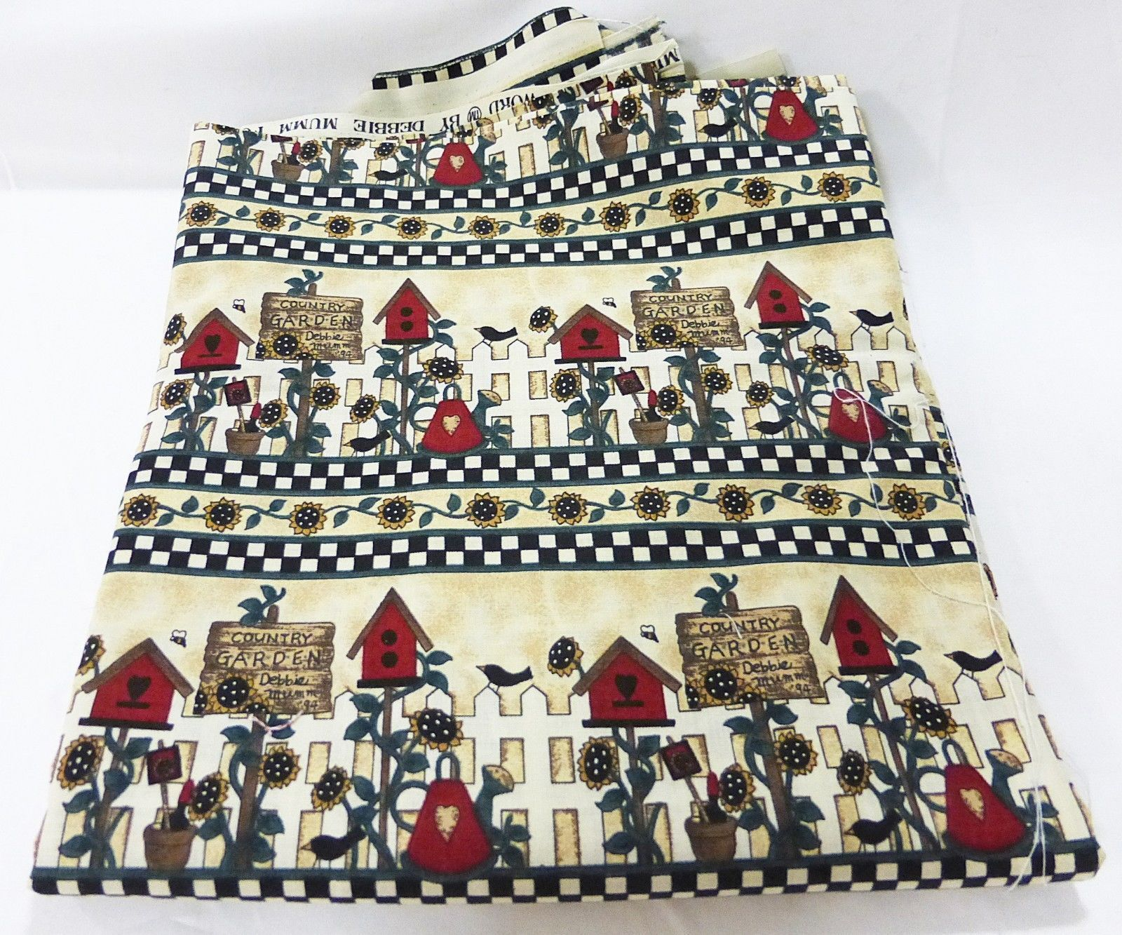 """Mumms the word fabric vintage sewing craft quilting bird house fence 44"""" x 96"""" - $16.82"""