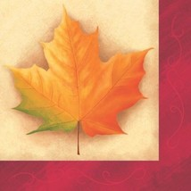 Thanksgiving Fall Breeze Luncheon Napkins 16 Ct Maple Leaves - £2.85 GBP