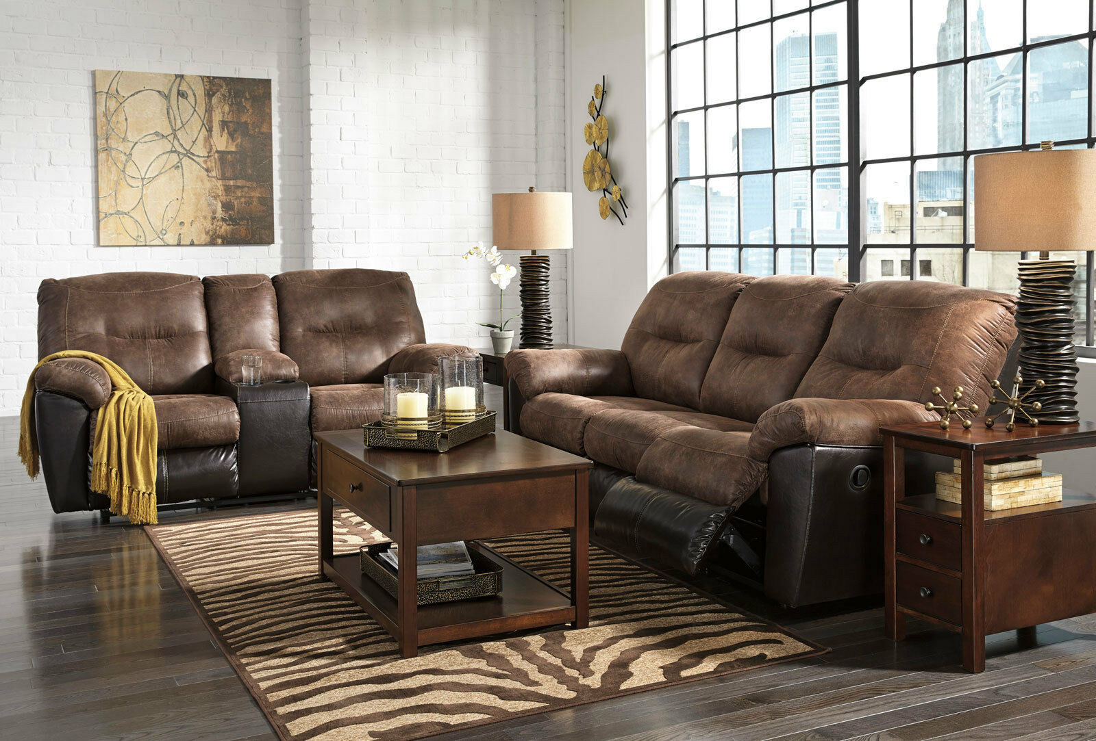 Greenwich modern living room couch set new brown fabric - Fabric reclining living room sets ...