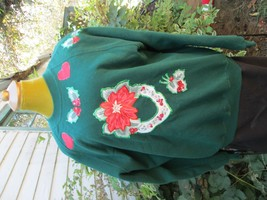 Women's Jerzees Christmas Sweatshirt Size XL Appliqued Ugly Used Condition - $19.79