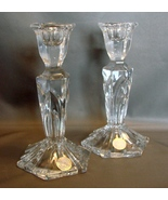 "Crystal Clear 24% Lead Crystal Column 7"" Candle Holders Set of 2 Made In... - $10.90"