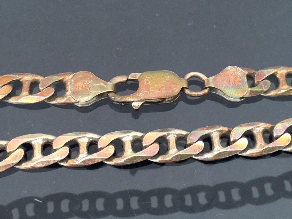Vintage Sterling Silver Gucci Link Chain Necklace 18 1/2'' Length