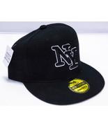 New Wide-Brimmed Adjustable Black Snapback NY Baseball Cap By New Century - $3.95