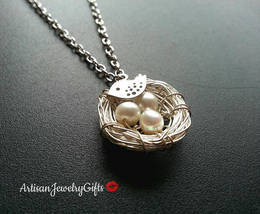 Birds Nest Necklace Silver Bird Necklace Silver Birds Nest Sparrow Neckl... - $42.00+